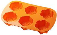 Силиконовая форма для выпечки кексов Снежинки 6 штук  Empire ЕМ 7105
