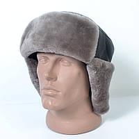 Мужская шапка-ушанка из натуральной кожи на меху (код 29-493)