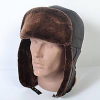Мужская шапка-ушанка из натуральной кожи на меху (код 29-496)