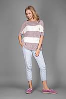 Женский джемпер в модную широкую полоску | лиловый-молоко