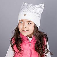 Модная шапка для девочек из двойной вязки в розницу - Кошка - зима  - Артикул 1798