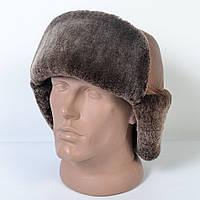 Мужская шапка-ушанка из натуральной кожи на меху (код 29-500)