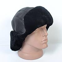 Мужская шапка-ушанка из натуральной кожи на овчине (код 29-504)