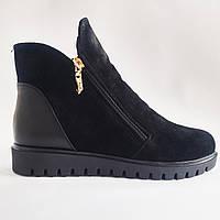 Замшевые женские зимние стильные черные ботинки на платформе Amina Gold