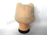 Женская шляпа фетровая жокейка с ушками бежевая