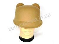 Женская шляпа фетровая жокейка с ушками песочная