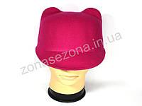 Женская шляпа фетровая жокейка с ушками розовая