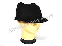 Женская шляпа фетровая жокейка с ушками чёрная