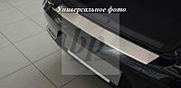Защитная хром накладка на задний бампер с загибом Subaru Legacy V 4D (субару легаси седан 2009-2014)