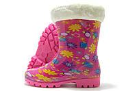Резиновые сапожки детские Dual розовые с цветочками 28-35р.