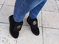 Ботинки женские реплика Roberto Cavalli из натуральной замши в черном цвете демисезонные
