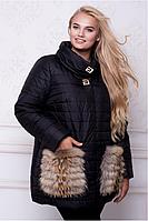 Куртка женская зимняя с меховыми карманами №10574 (р.48-60)