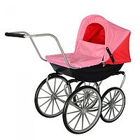 Детская кукольная коляска в классическом стиле с большими колесами