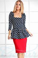 Платье баска горошек. Цвет сине-красный.