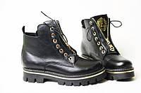 Женские трендовые зимние ботинки на молнии и шнуровке