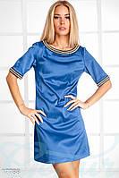 Сатиновое мини платье. Цвет синий электрик.