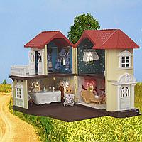 Двухэтажный уютный кукольный домик Happy Family 012-01, 50х39х34см, 2 комплекта мебели и 2 котика