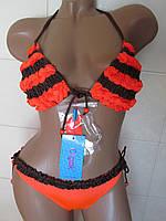 Купальник  с рюшами оранж+коричневый