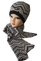 Комплект шапка и шарф женский полоска