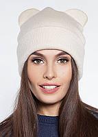 Женская шапка с ушками зимняя