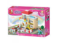 Конструктор М38-В0533 SLUBAN Розовая мечта, 380 деталей, 3 фигурки, кошка, велосипед, коробка