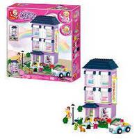 Детский конструктор SLUBAN «Розовая мечта», М38-В0531 «Отель», 5 фигурок, собака, велосипед, авто