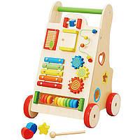 Ходунки каталка - развивающий центр деревянная игрушка ксилофон, сортер, пальчиковый лабиринт, счеты, трещетка