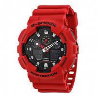 Часы Casio G-Shock XL Analog-Digital Black Dial Red Resin Strap GA100B-4A