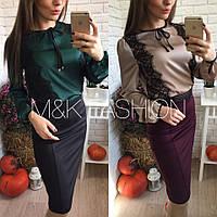 Очень красивая шелковая блуза с кружевом, 2 цвета