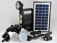 Фонарик с солнечной батареей GD 8033 (USB порт, 3 подвесные лампочки, USB кабель с переходниками)