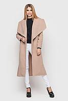 Длинное темно-бежевое женское пальто