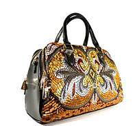 Вышитая женская сумка, саквояж Valensiy 9186 черная