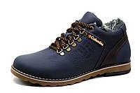 Ботинки на меху Columbia, зимние, мужские, натуральная кожа, темно-синие, фото 1