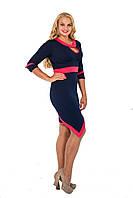 Женское платье большого размера синее, ассиметрия