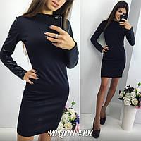 Женское платье с кожаным рукавом ИО 197-NW