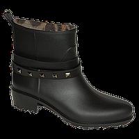 Женские модные короткие резиновые сапожки (черный)