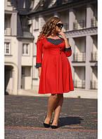Женское платье клеш Ретро цвет красный размер 48-70