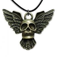 Кулон KN-09 - Череп с крыльями бронза