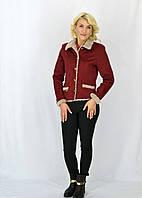Красивая женская курточка Джессика из меховой отделкой на воротнике цвета бордо