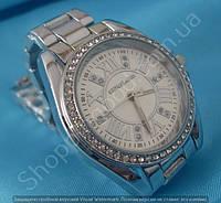 Часы Michael Kors MK-B33 женские серебристые с белым циферблатом в стразах диаметр 37 мм