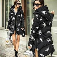 Модная зимняя куртка для девушек черного цвета с