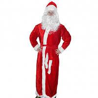Карнавальный костюм Деда Мороза велюр красный