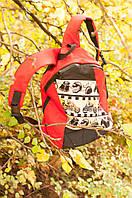 Красный рюкзак текстильный ручной работы «Жуки-мотоциклисты» SKU0000325