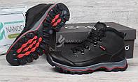 Ботинки мужские зимние кожаные на меху Ecco Gore-tex черные, Черный, 41
