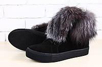 Ботинки зимние черные замшевые с натуральным мехом (чернобурка)