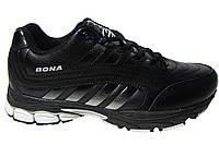 Мужские кроссовки Bona кожаные, черные Р. 41 42 43 44 45 46