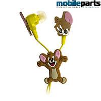Детские вакуумные наушники для mp3, телефона ''Tom & Jerry''