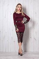Модное платье бордового цвета за колено