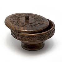 Деревянная шкатулка круглая