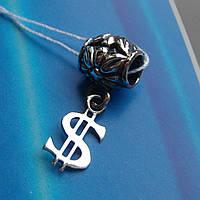 Шарм-подвеска серебряная Доллар для браслета Пандора